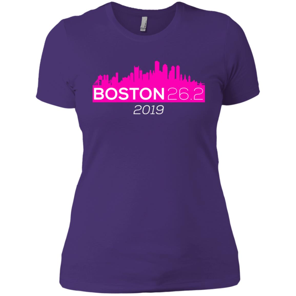 Boston Skyline – – Pink Women Short Sleeve