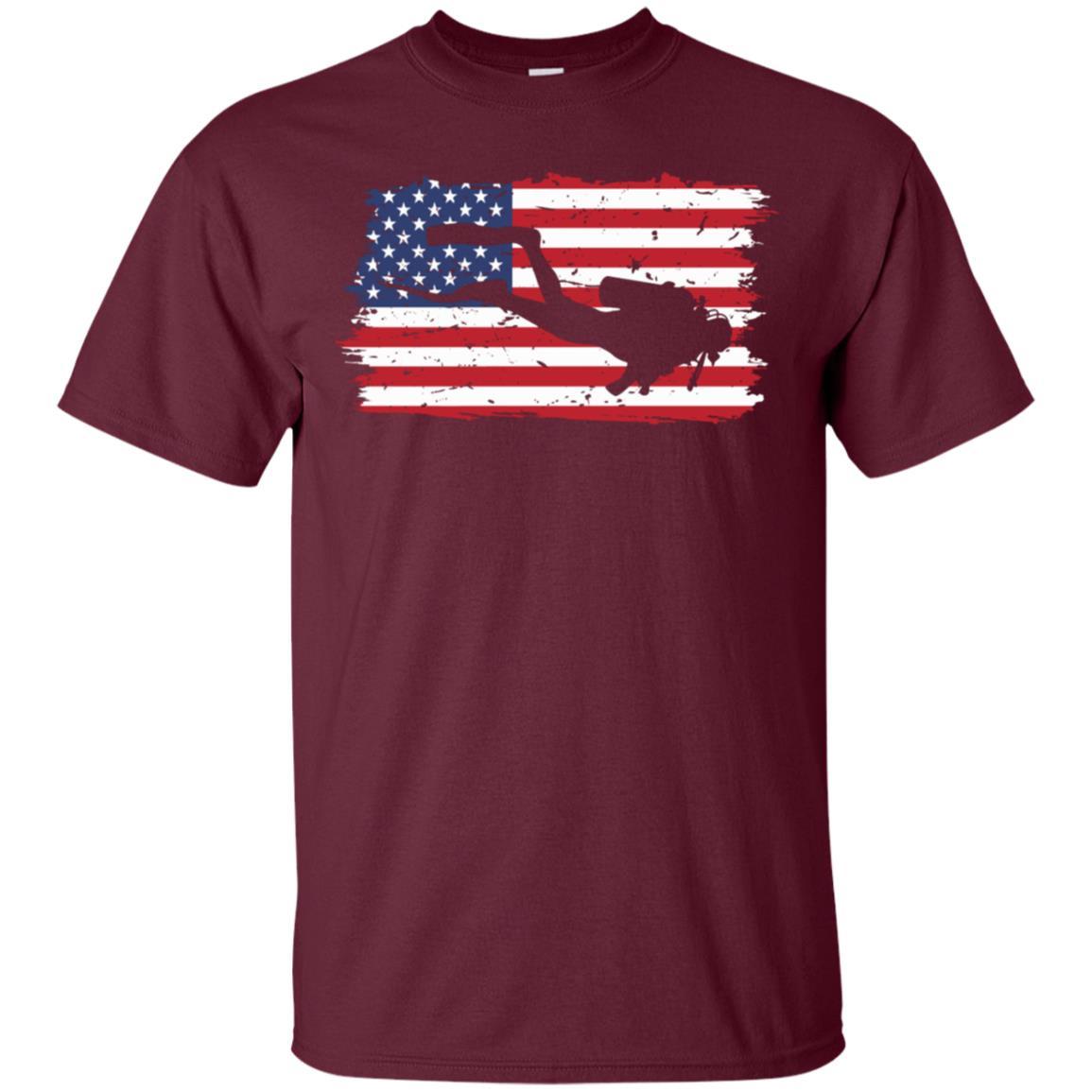 Patriotic Us Flag Scuba Diving Long Unisex Men Women Unisex Short Sleeve