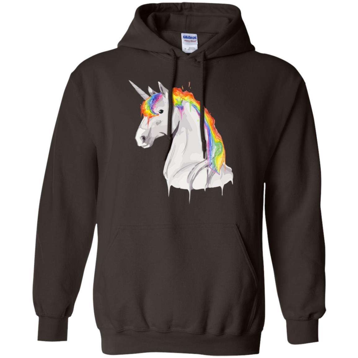 Rainbow Unicorn Watercolor Cool I Heart Unicorn Gift Pullover Hoodie