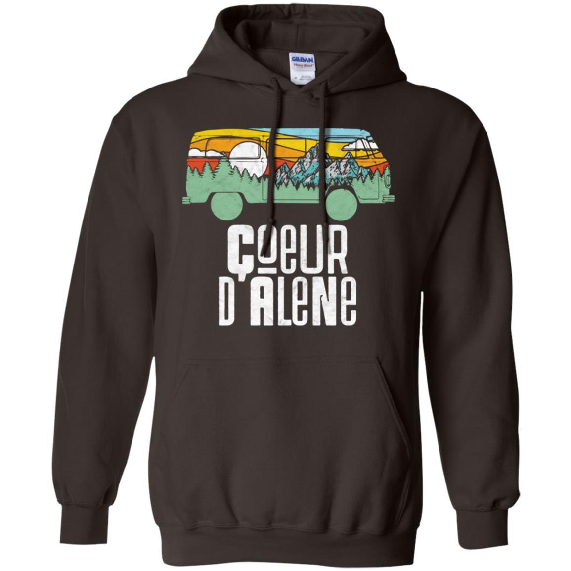 Retro Coeur d'Alene Outdoor Hippie Van Nature Pullover Hoodie