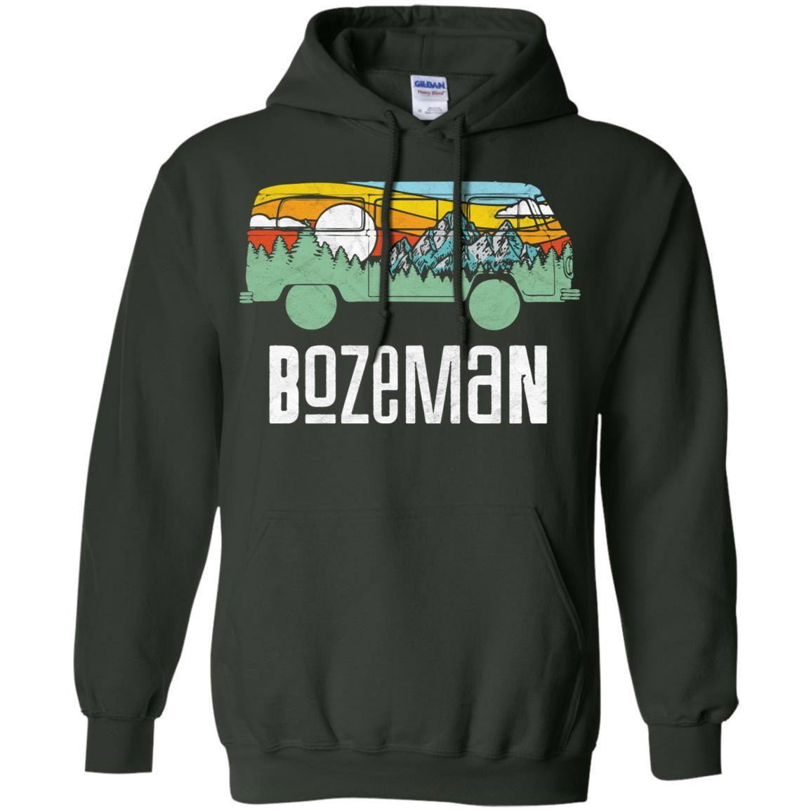 Retro Bozeman Montana Outdoor Hippie Van Tee Pullover Hoodie