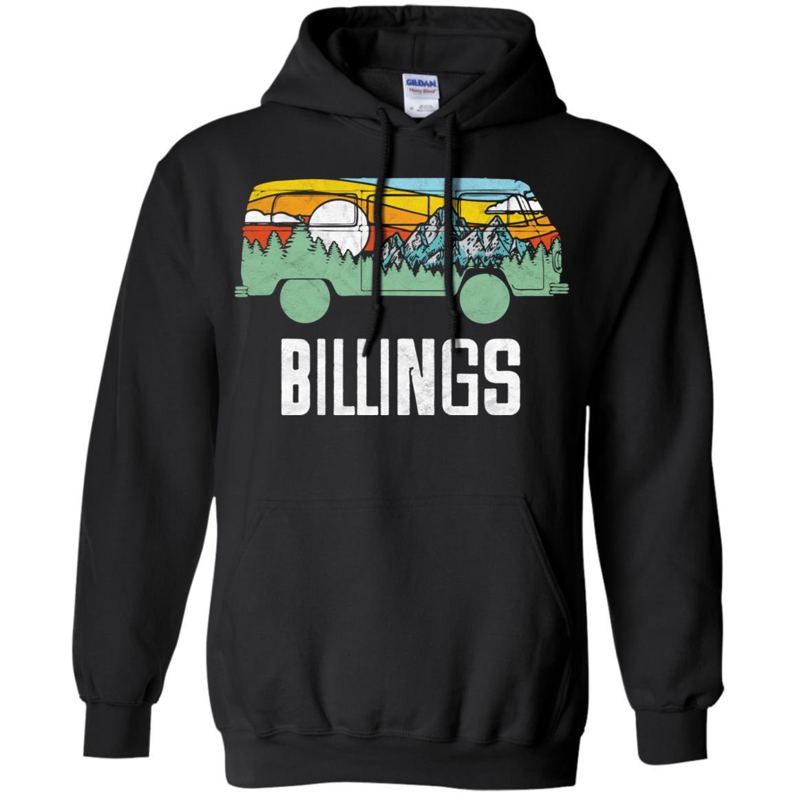 Retro Billings Montana Outdoor Hippie Van Pullover Hoodie