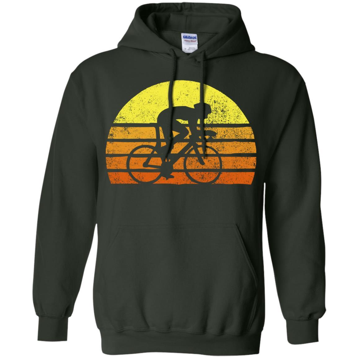 Retro Bicycle Rider Racing Vintage Sunset Pullover Hoodie