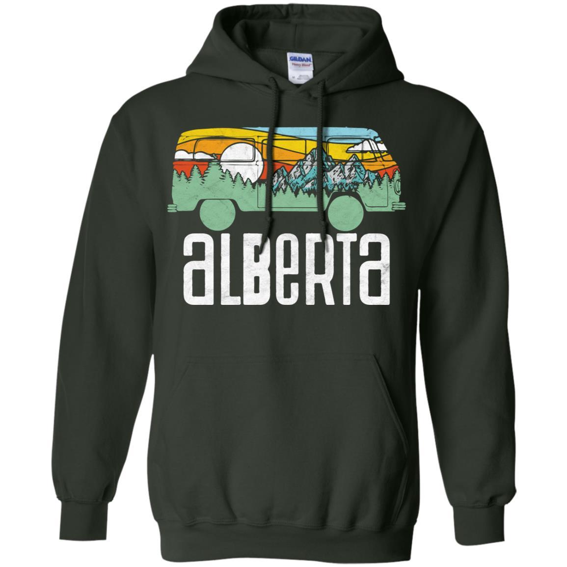Retro Alberta Canada Outdoor Hippie Van Tee Pullover Hoodie