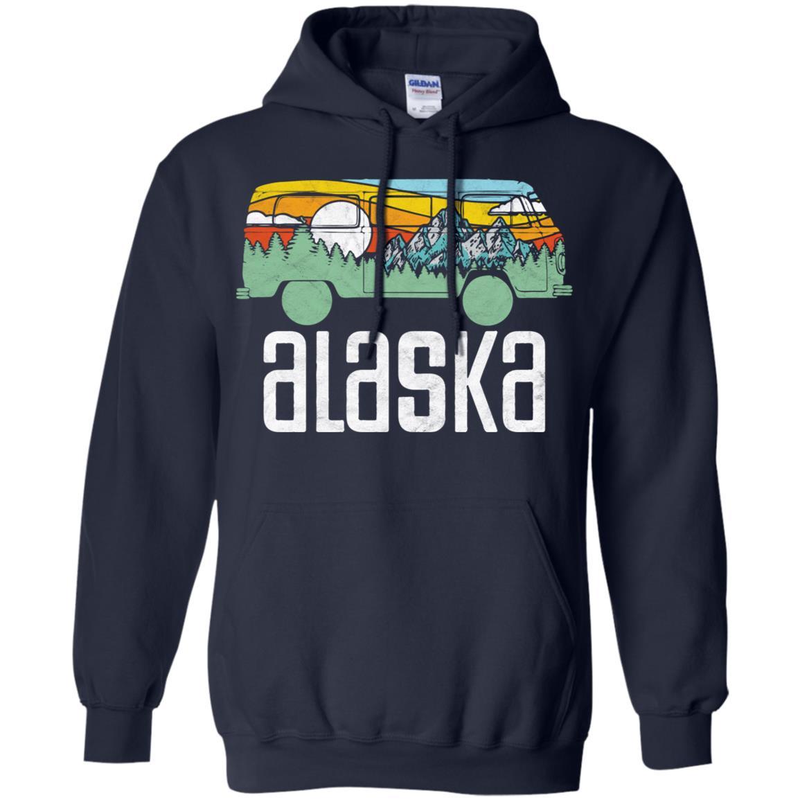 Retro Alaska Outdoor Hippie Van Nature Design T Pullover Hoodie