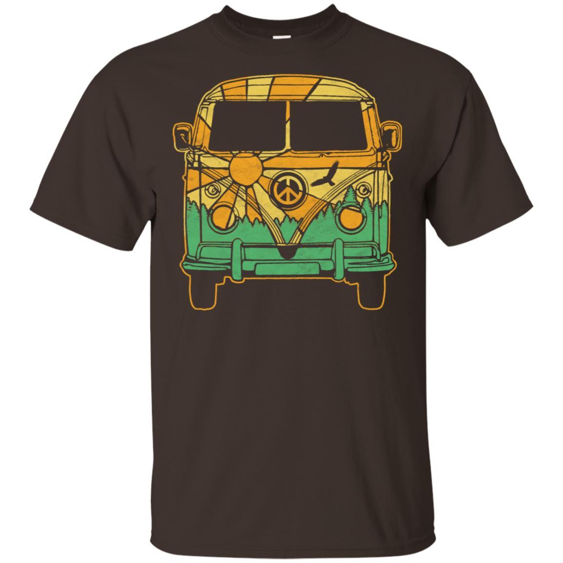 Retro Hippie Van Camper Vintage Nature Tee-1 Unisex Short Sleeve