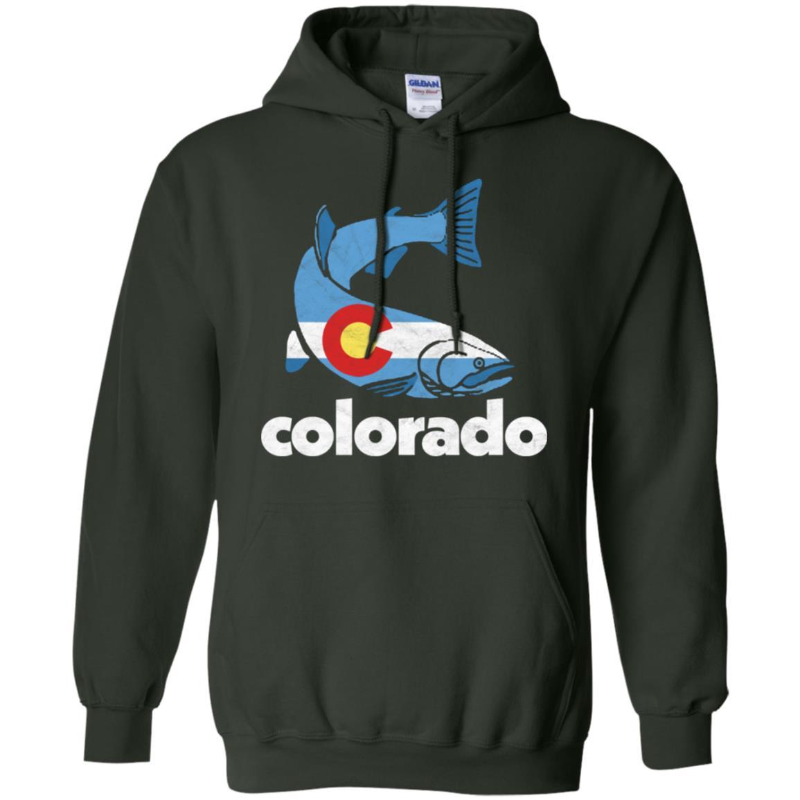 Retro Vintage Colorado Flag Fishing Pullover Hoodie