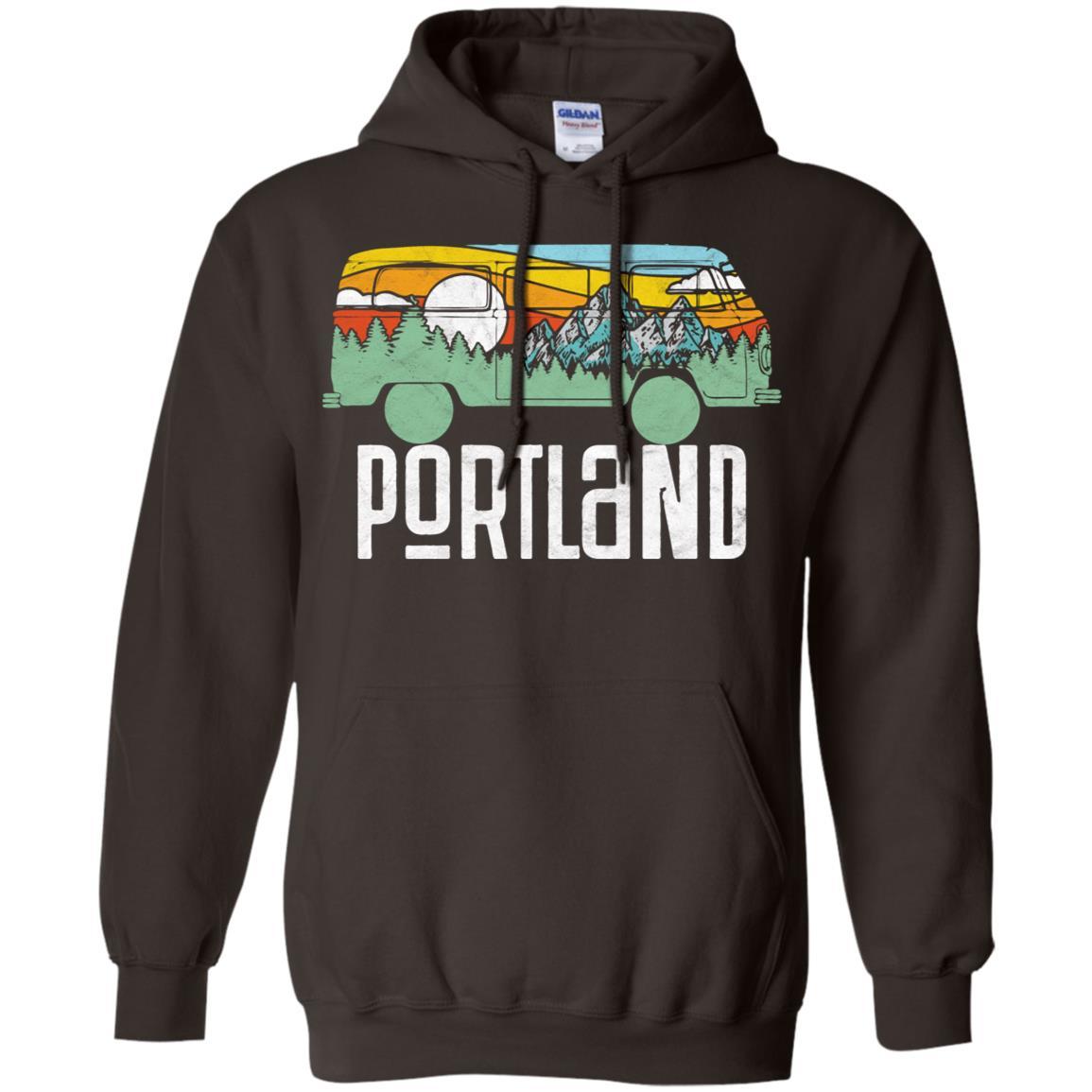 Retro Porland Oregon Outdoor Hippie Van Pullover Hoodie