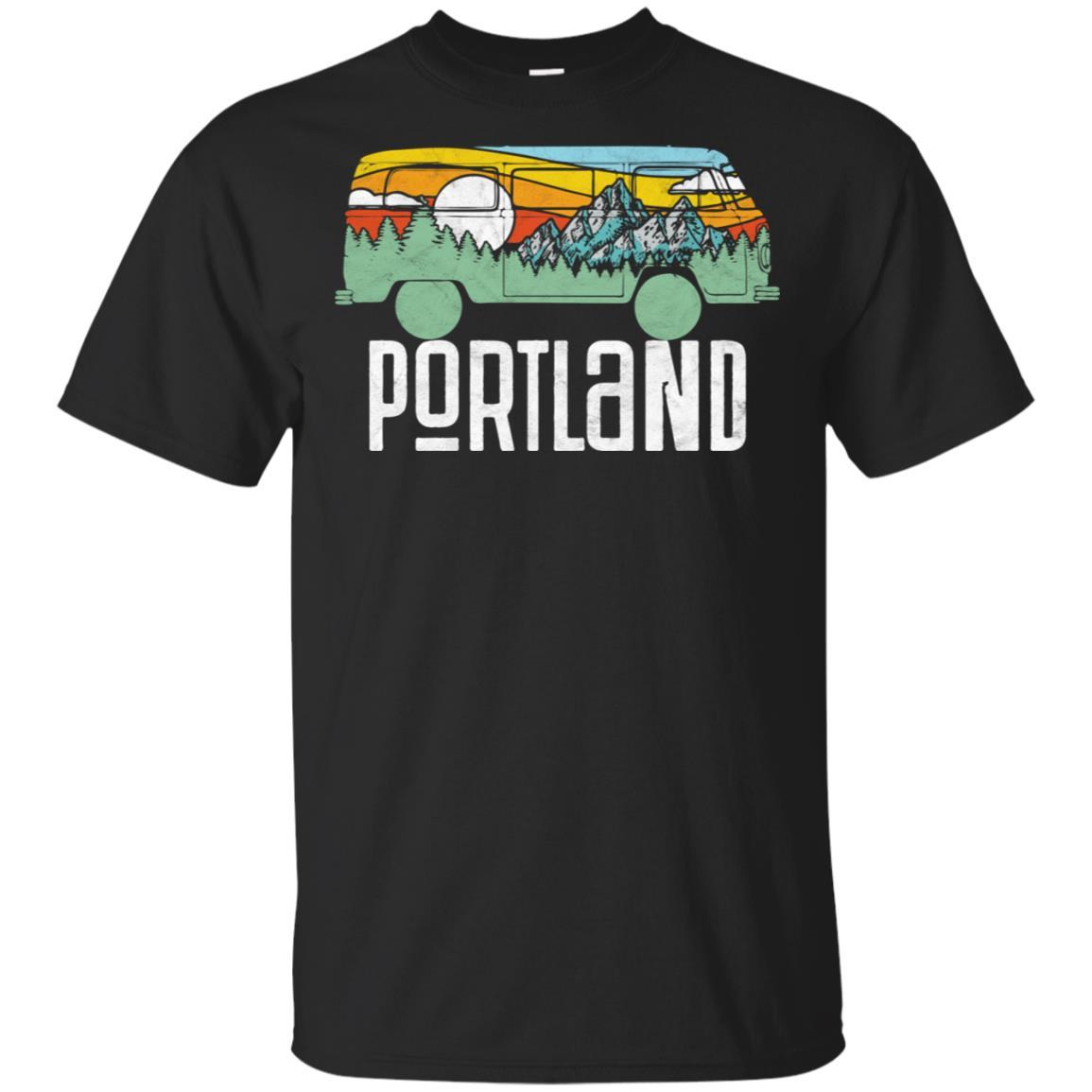 Retro Porland Oregon Outdoor Hippie Van Unisex Short Sleeve