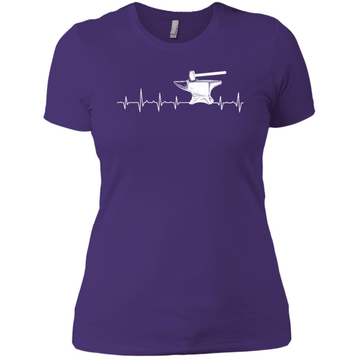 Blacksmith Heartbeat Hammer & Anvil Gift Women Short Sleeve