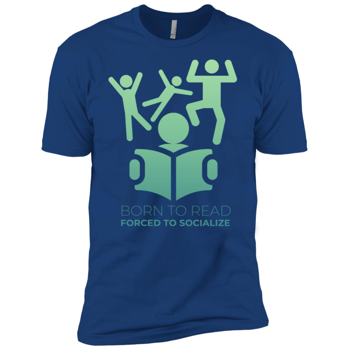 Born To Read Forced To Socialize Funny Library Men Short Sleeve