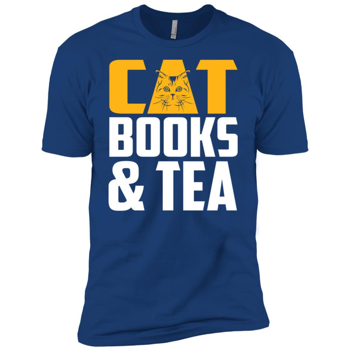 Books Cats And Tea Book Lover Tea Drink Cat Pet Men Short Sleeve