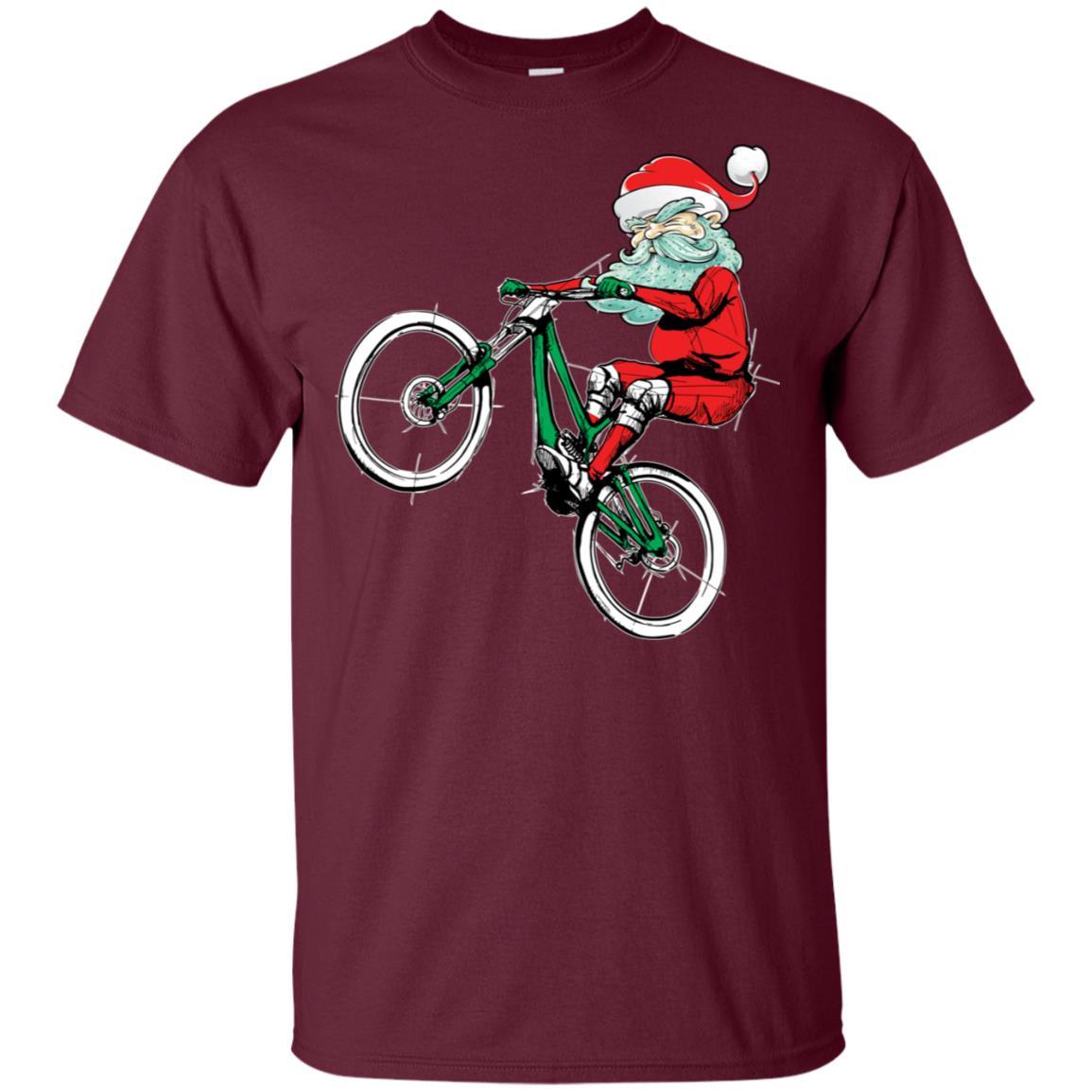 Christmas Mountain Bike Mtb Santa Claus Unisex Short Sleeve