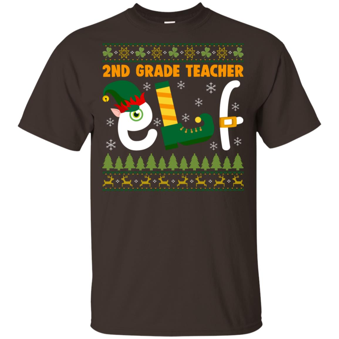 2nd Grade Teacher Elf Youth Short Sleeve