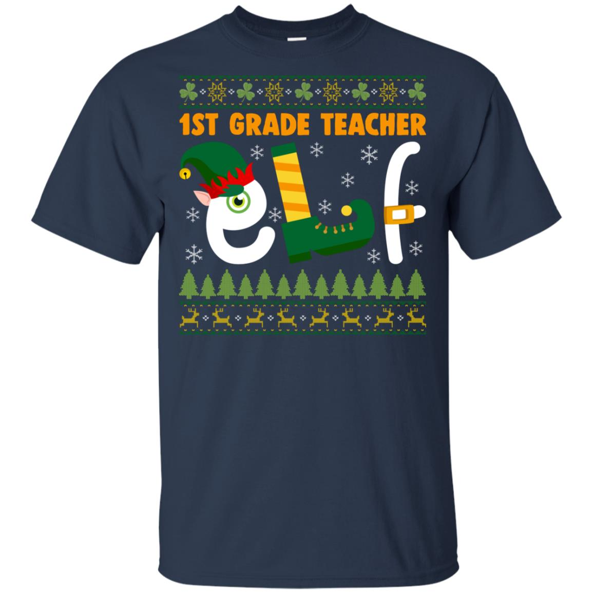 1st Grade Teacher Elf Youth Short Sleeve