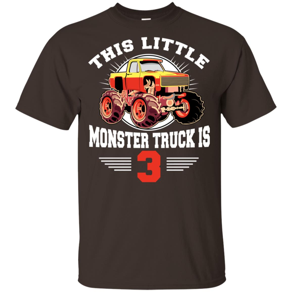 3rd Birthday Little Monster Truck is 3 Bday Gift Tee Youth Short Sleeve