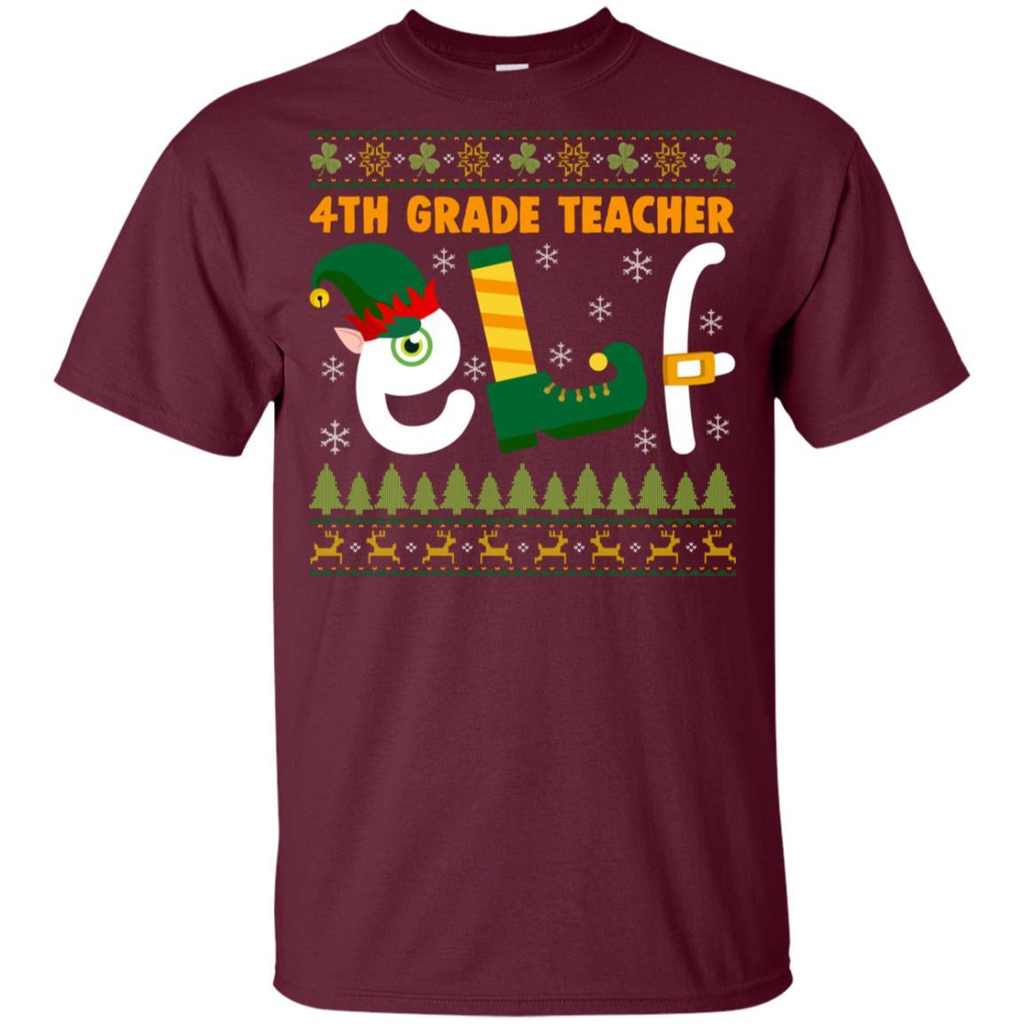 4th Grade Teacher Elf Youth Short Sleeve