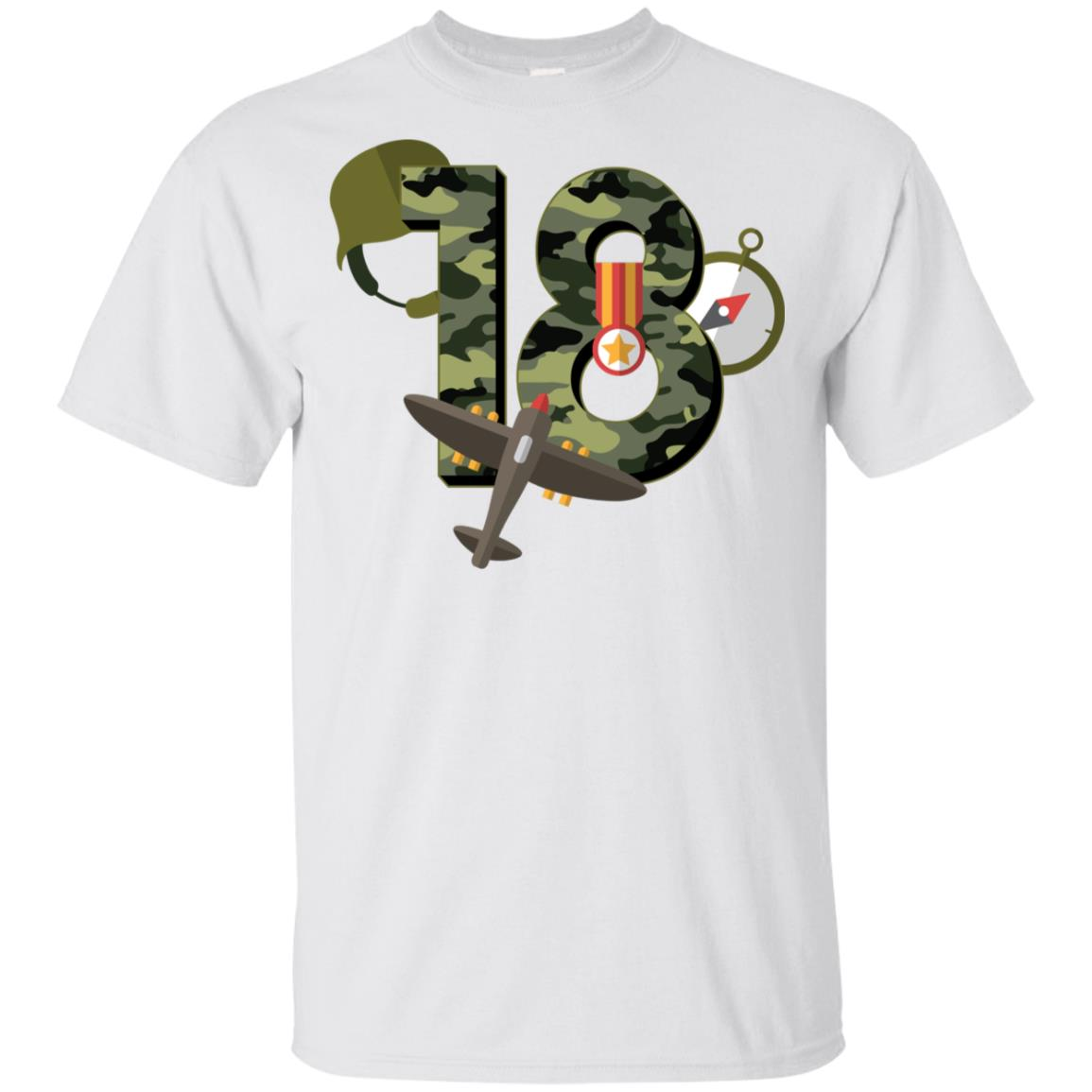 18th Birthday Camouflage Army Soldier 18 Youth Short Sleeve