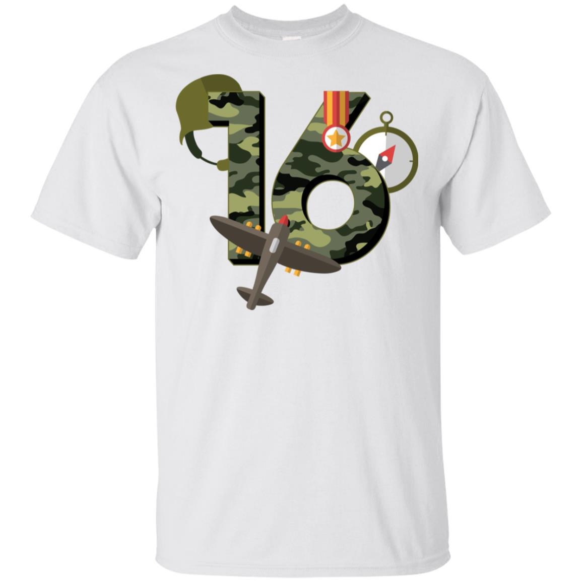 16th Birthday Camouflage Army Soldier 16 Youth Short Sleeve