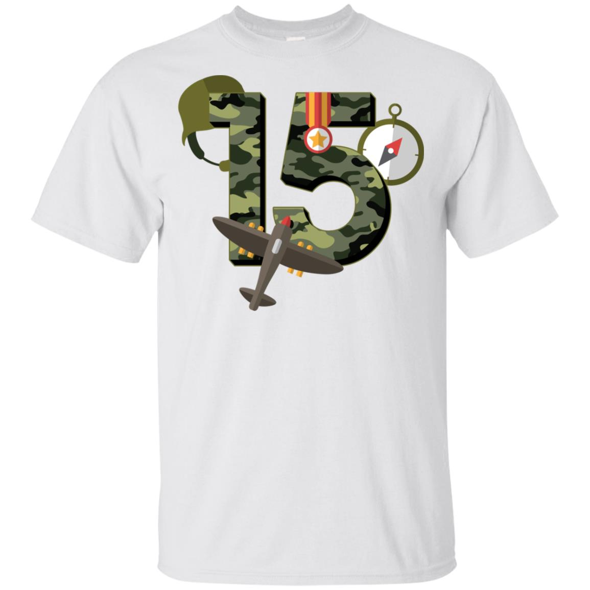 15th Birthday Camouflage Army Soldier 15 Youth Short Sleeve