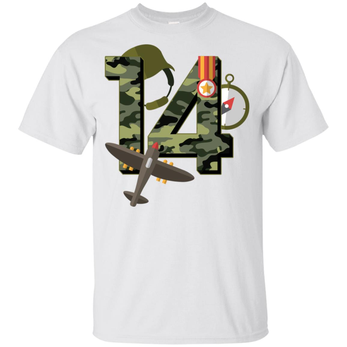 14Birthday Camouflage Army Soldier 14 Ye Youth Short Sleeve
