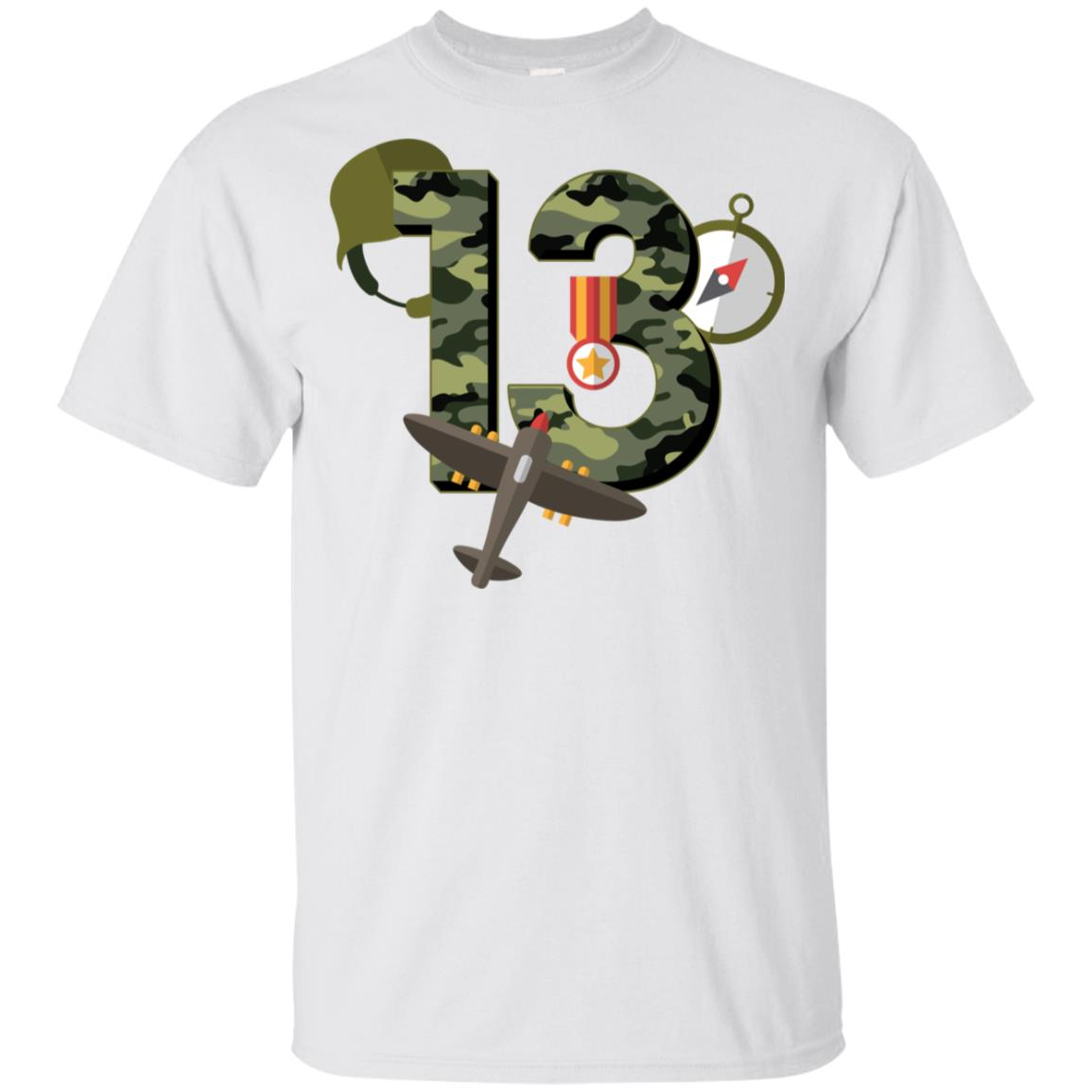 13th Birthday Camouflage Army Soldier 13 Youth Short Sleeve