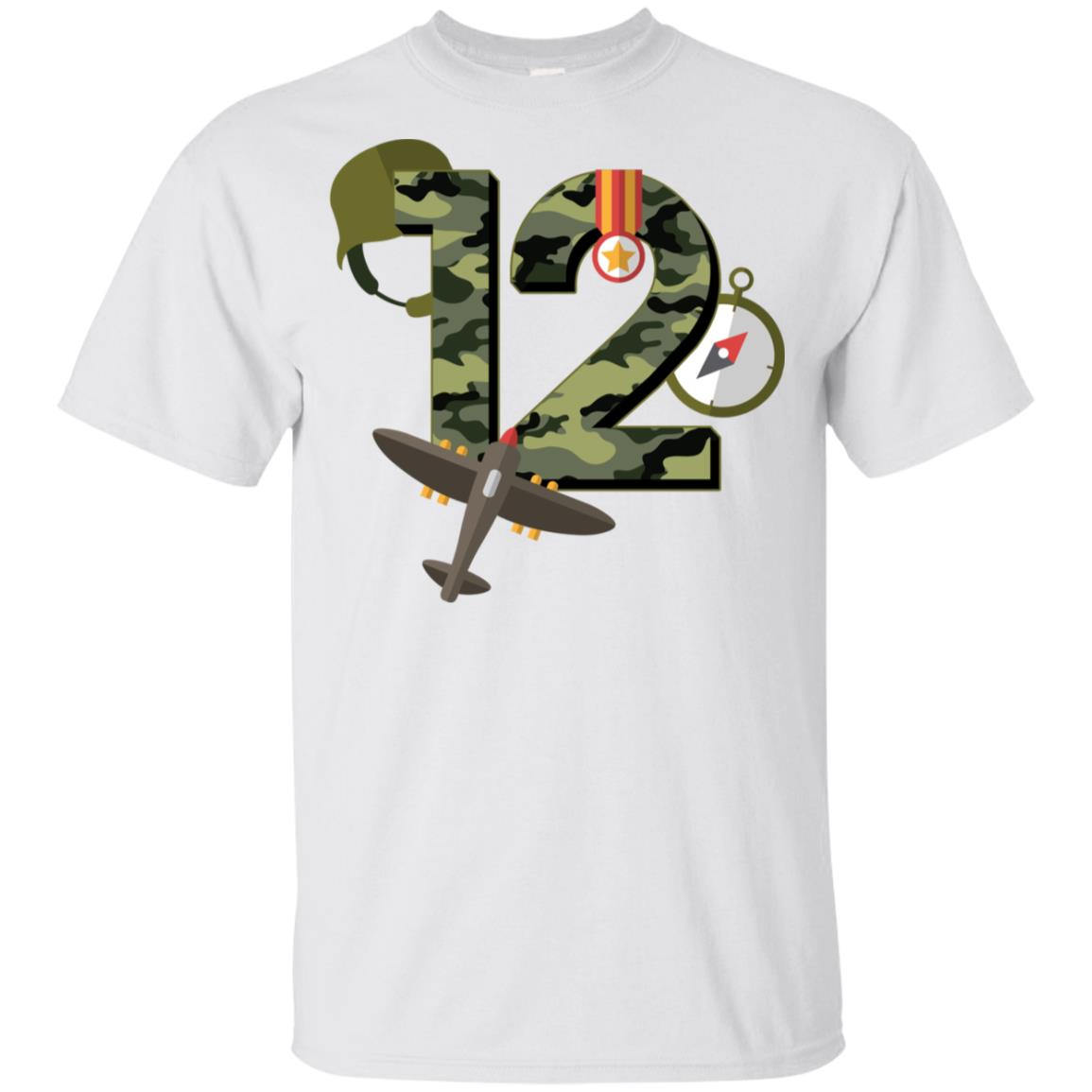 12th Birthday Camouflage Army Soldier 12 Youth Short Sleeve