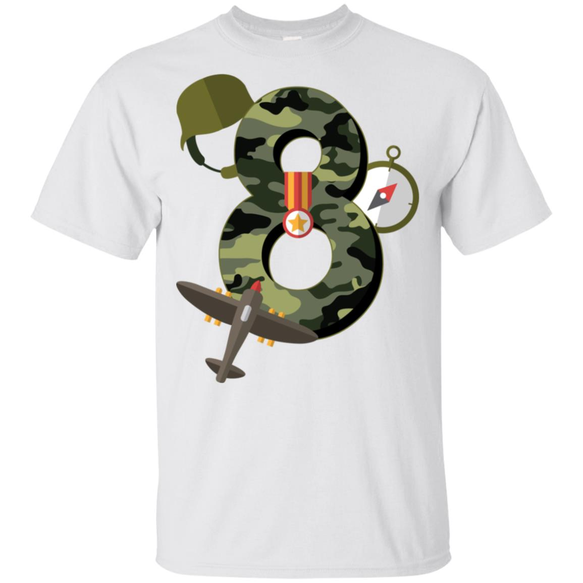 8th Birthday Camouflage Army Soldier 8 Y Youth Short Sleeve