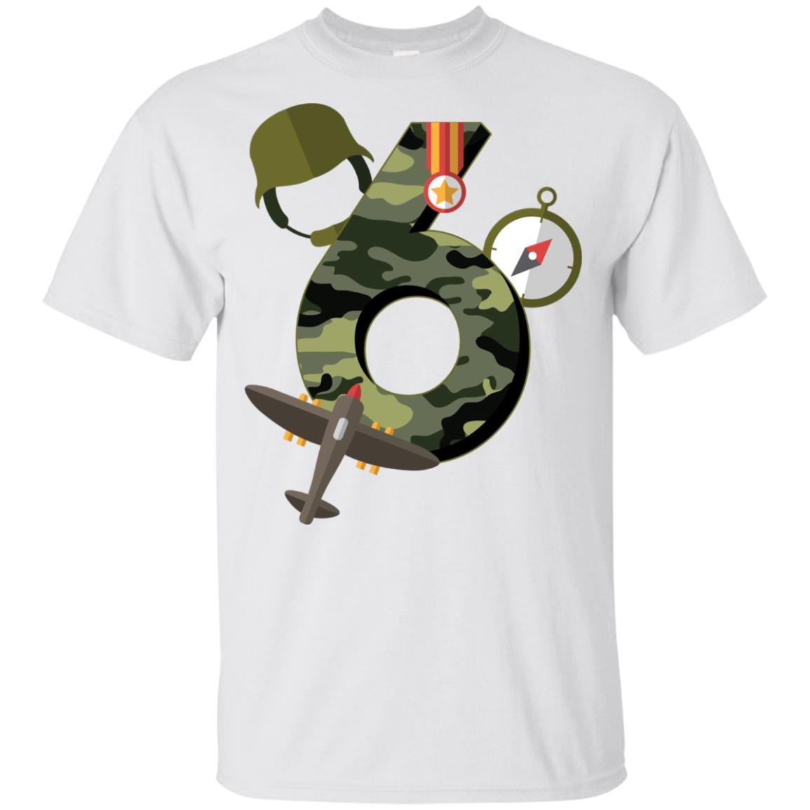 6th Birthday Camouflage Army Soldier 6 Y Youth Short Sleeve