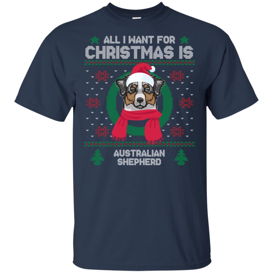 Australian Shepherd Santa Hat Ugly Sweater Xmas Unisex Short Sleeve