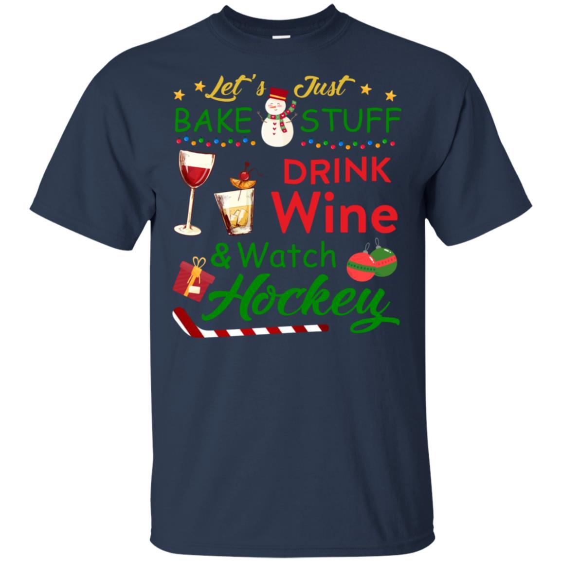 Baking Drink Wine Watching Hockey Xmas Unisex Short Sleeve