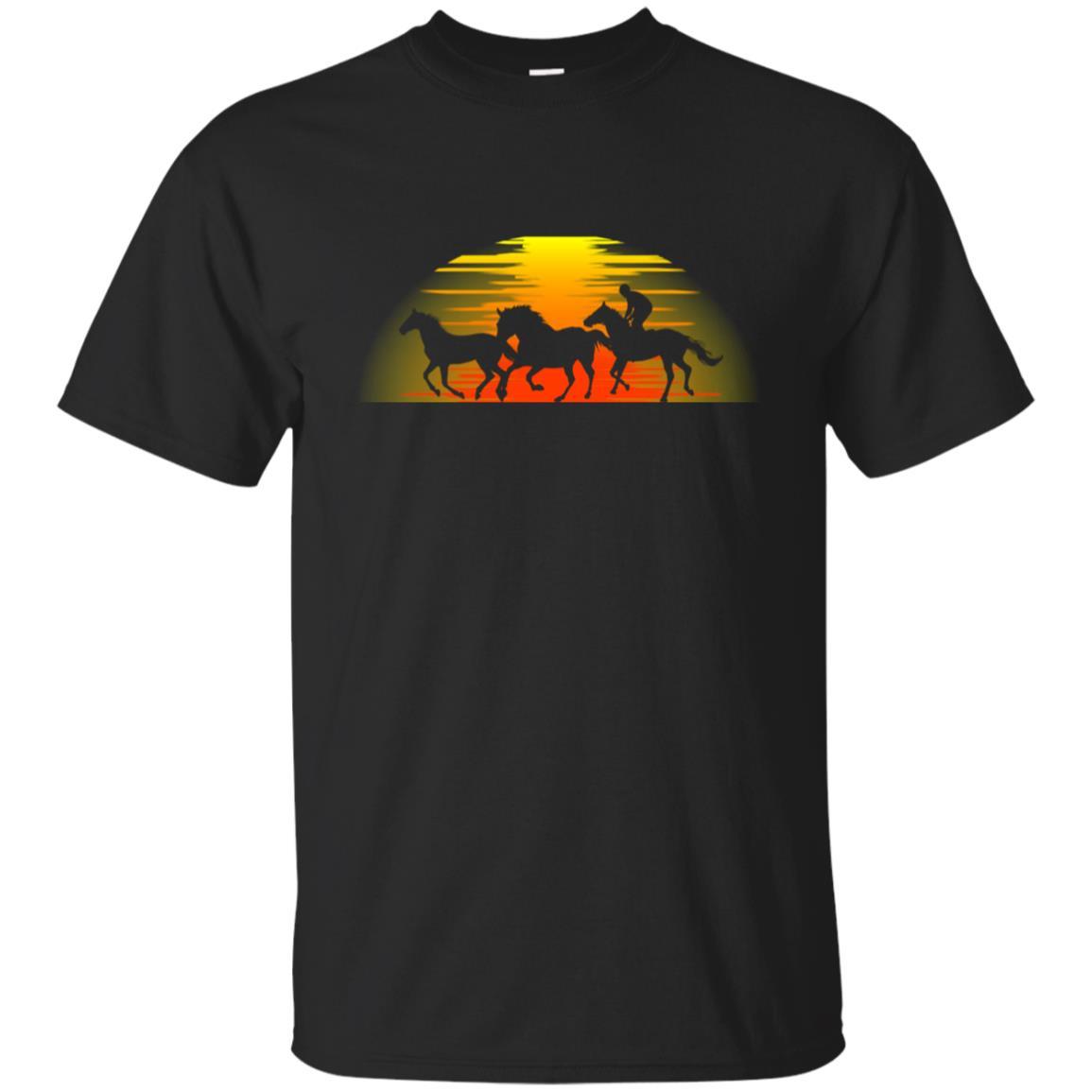 Cowboy Riding Sunset' Funny Horse Gift Unisex Short Sleeve