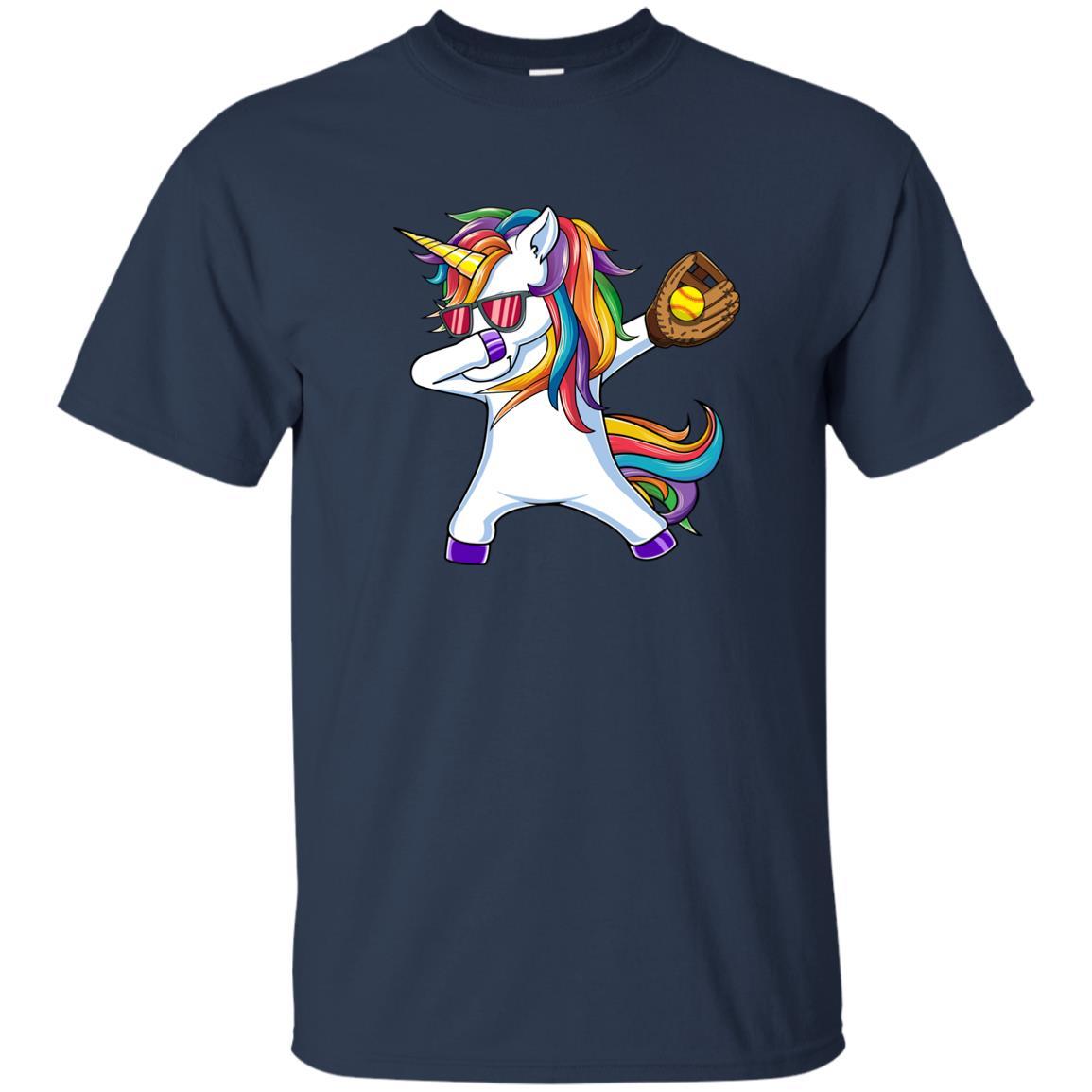 Dabbing Unicorn Softball Kids Funny Dab Dance Gift Unisex Short Sleeve