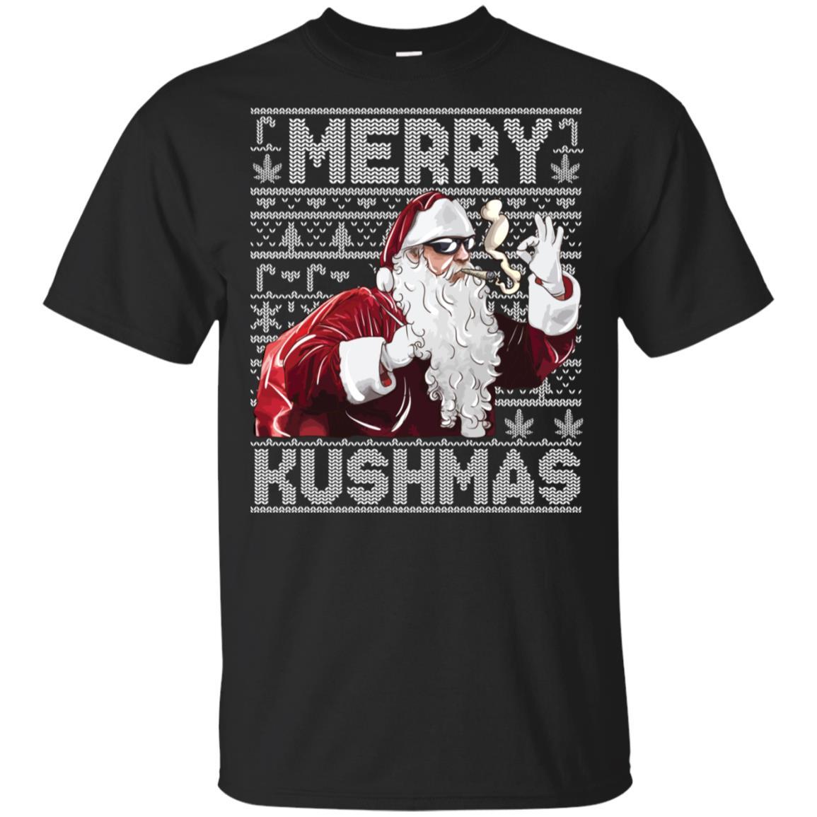 Ugly Christmas Sweater Santa Marijuana Unisex Short Sleeve