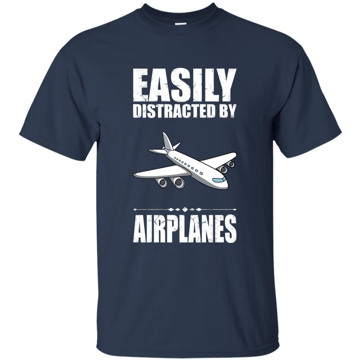Easily Distracted By Airplanes Funny Airplane Gift Unisex Short Sleeve