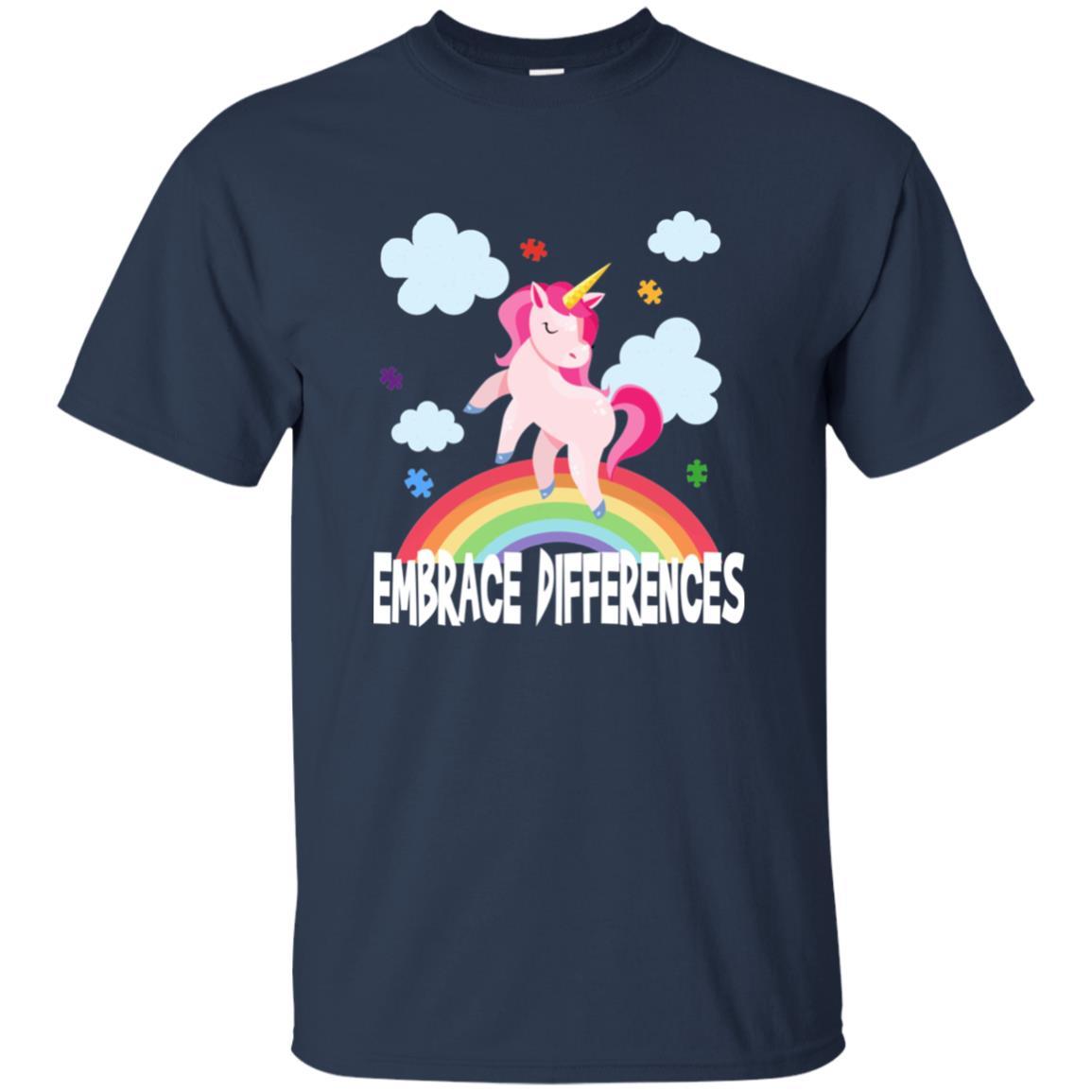 Embrace Differences Unicorn Autism Awareness Unisex Short Sleeve