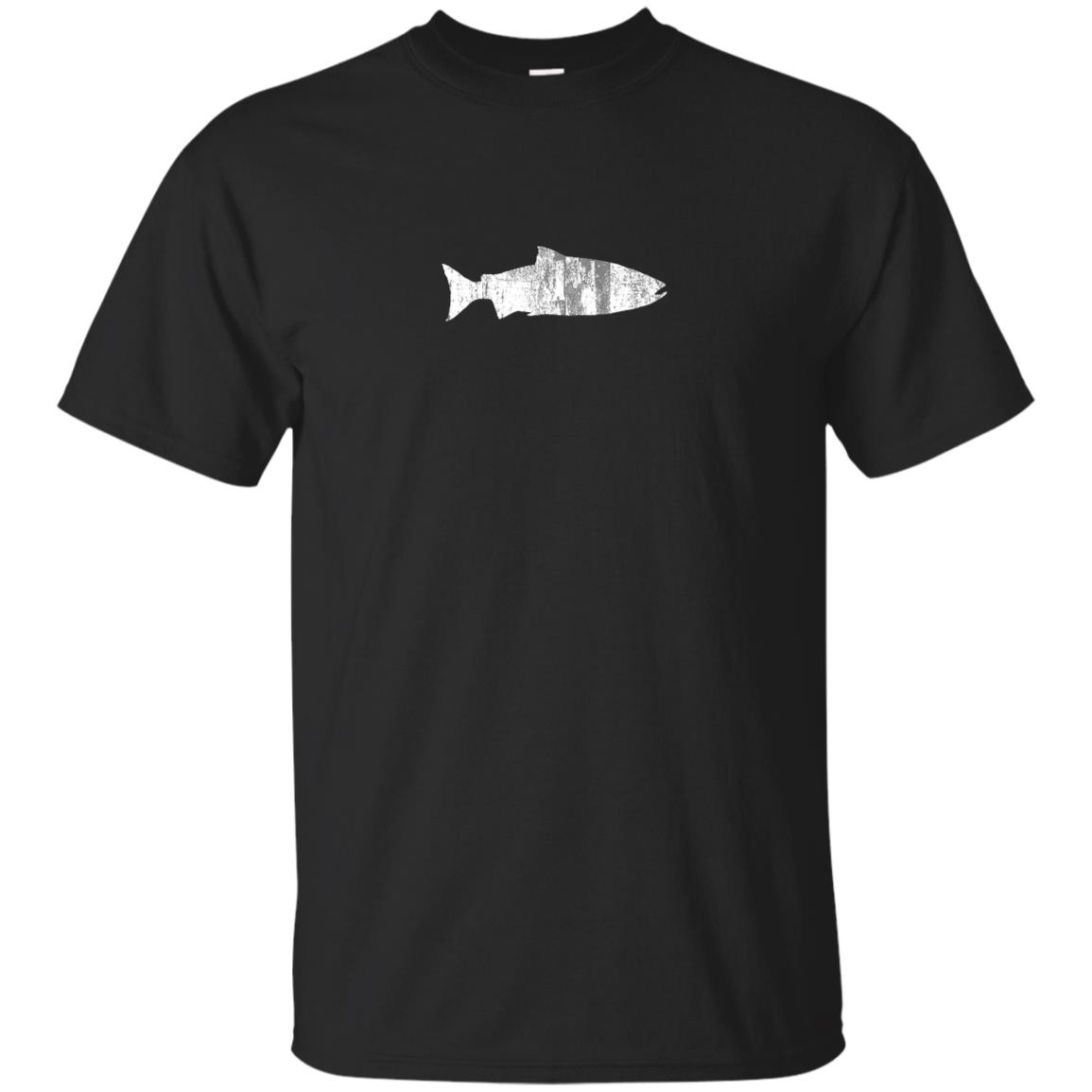 Fish Salmon – – Distressed Vintage Retro Unisex Short Sleeve