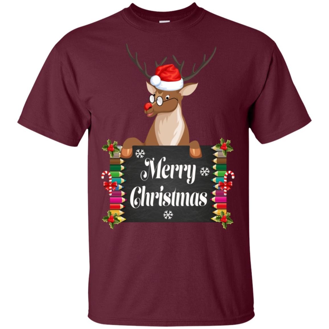 Christmas Reindeer Teacher Santa Hat Christmas Unisex Short Sleeve
