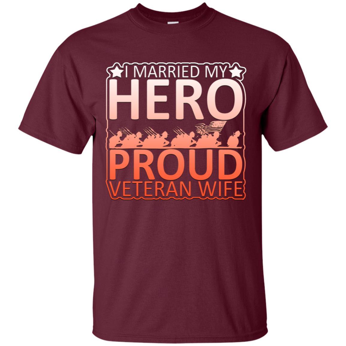 I Married My Hero Proud Veteran's Wife Graphic Unisex Short Sleeve