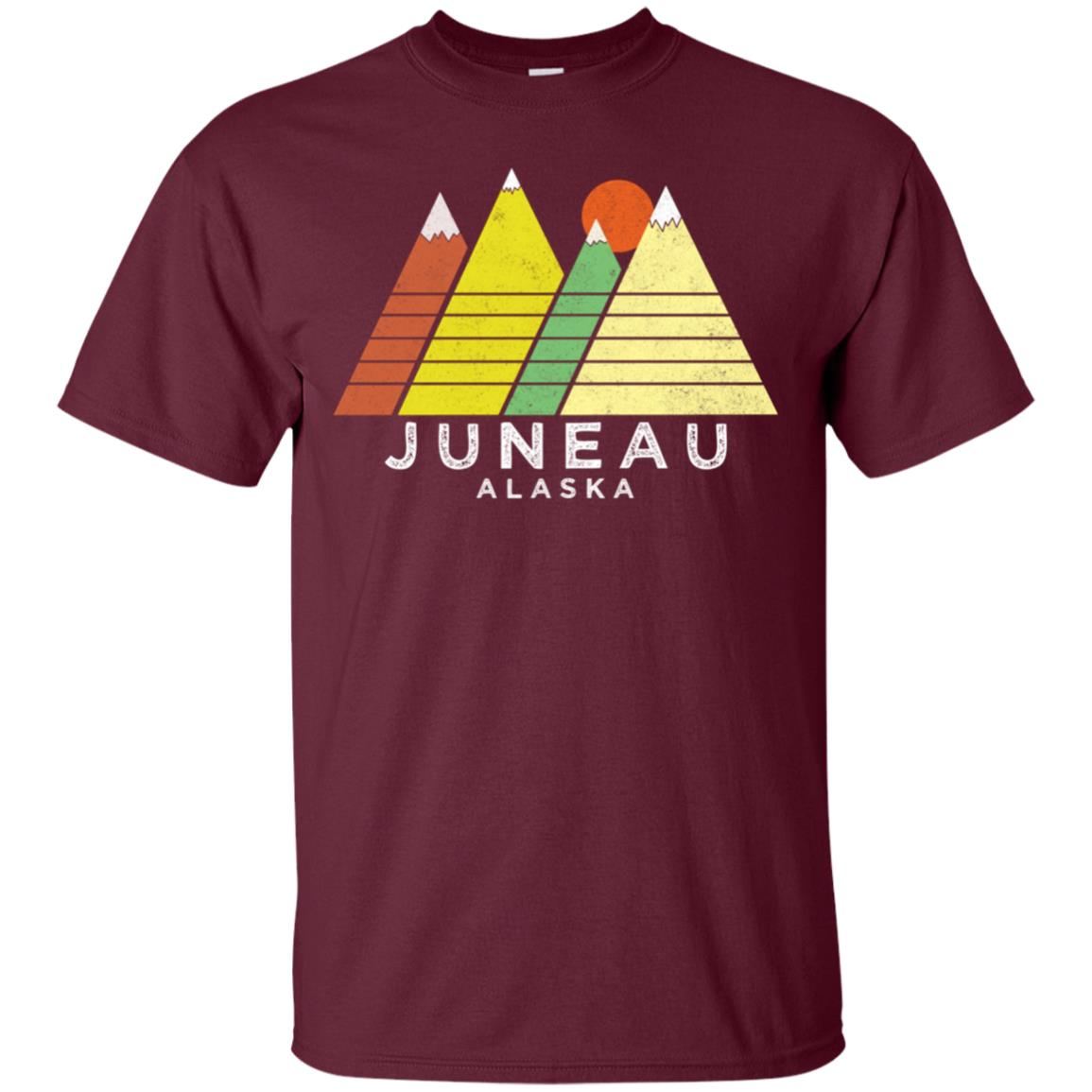 Juneau, Alaska – Retro Style Mountain Unisex Short Sleeve