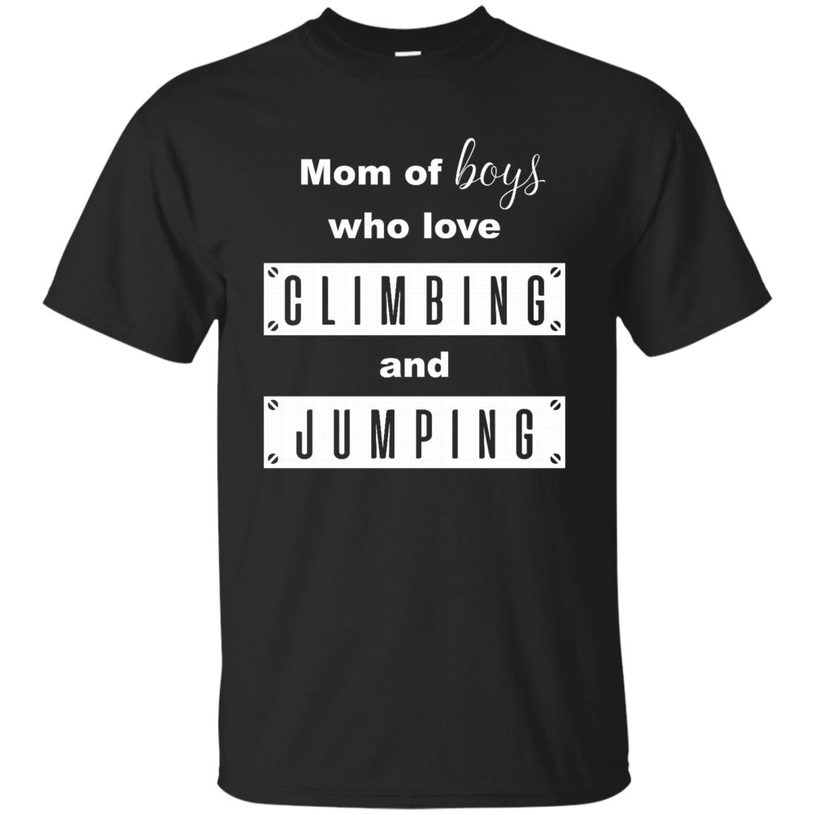 Mom of Boys who love climbing and jumping black red Unisex Short Sleeve