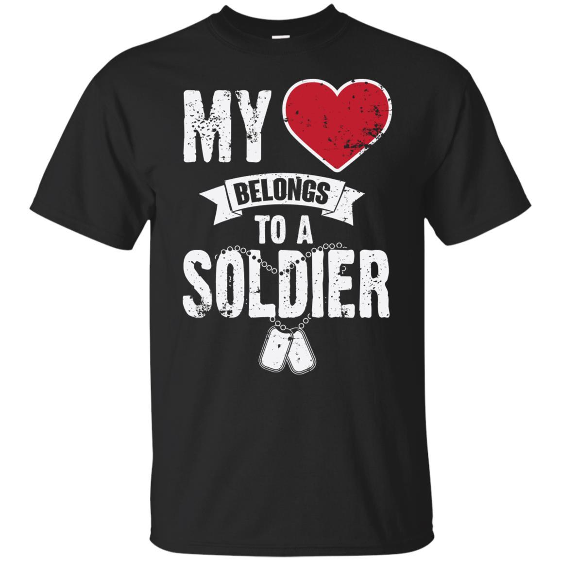 My Heart Belongs To A Soldier Veteran Spouse Fiancee Ls Tee Unisex Short Sleeve