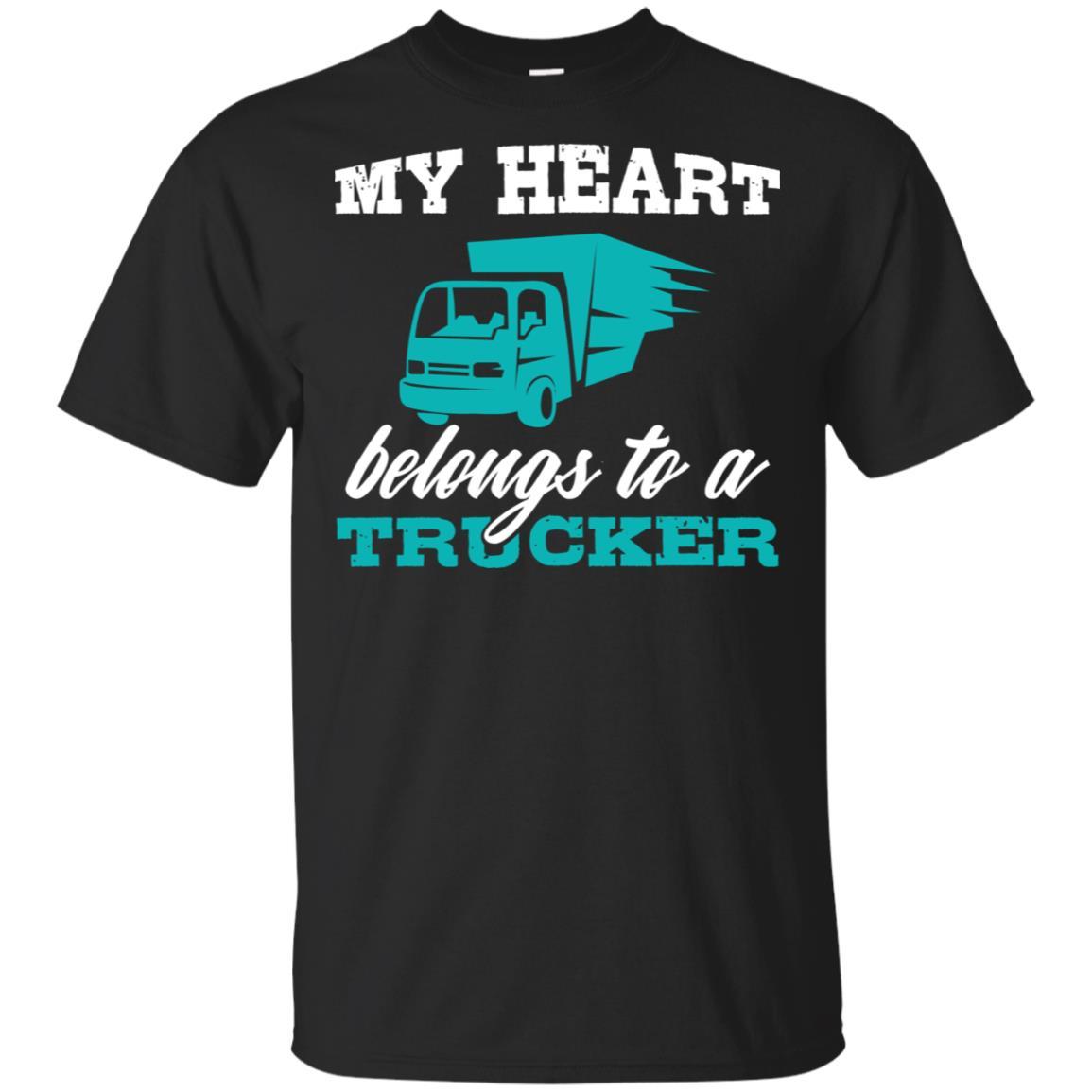 My Heart Belongs to a Trucker Women Wife Girlfriend Unisex Short Sleeve