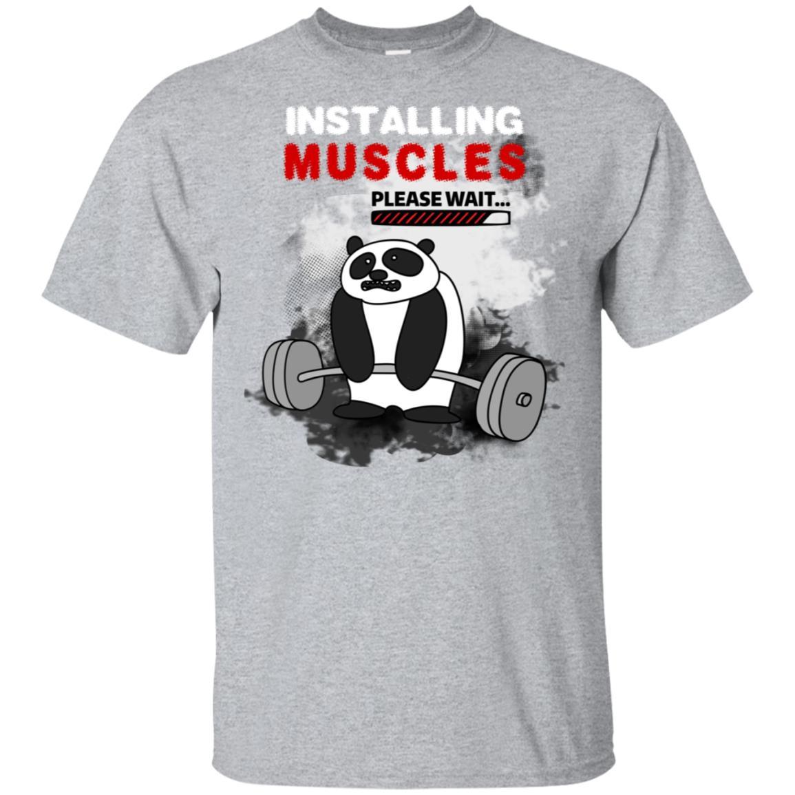 Installing Muscles Please Wait Funny Exercise Unisex Short Sleeve