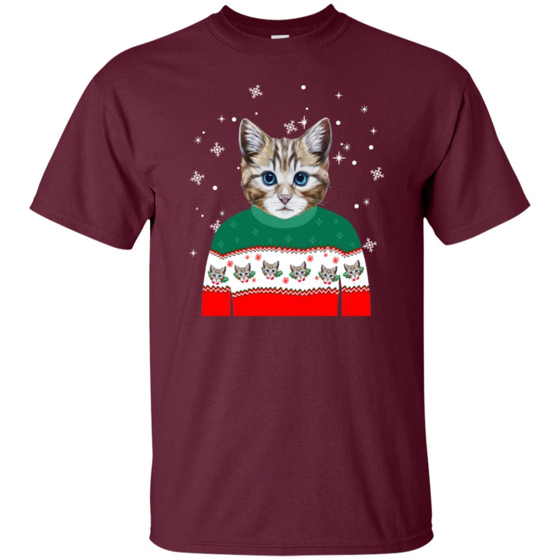 Funny Cat Wearing Ugly Christmas Sweater X-Mas Unisex Short Sleeve