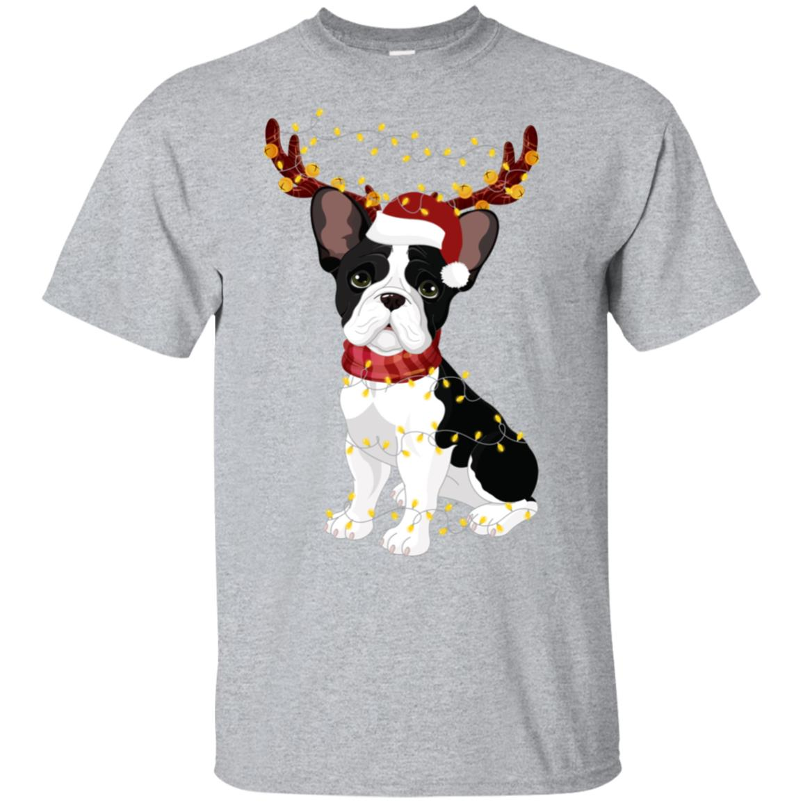 French Bulldog Reindeer Antlers Light Unisex Short Sleeve