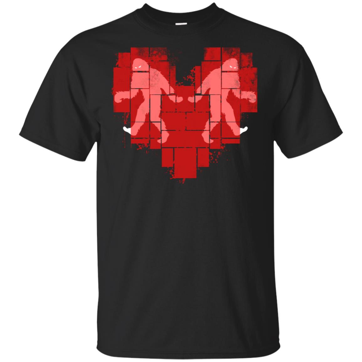 Two Bigfoot Lover Red Heart Shape Funny Yeti Gift Unisex Short Sleeve