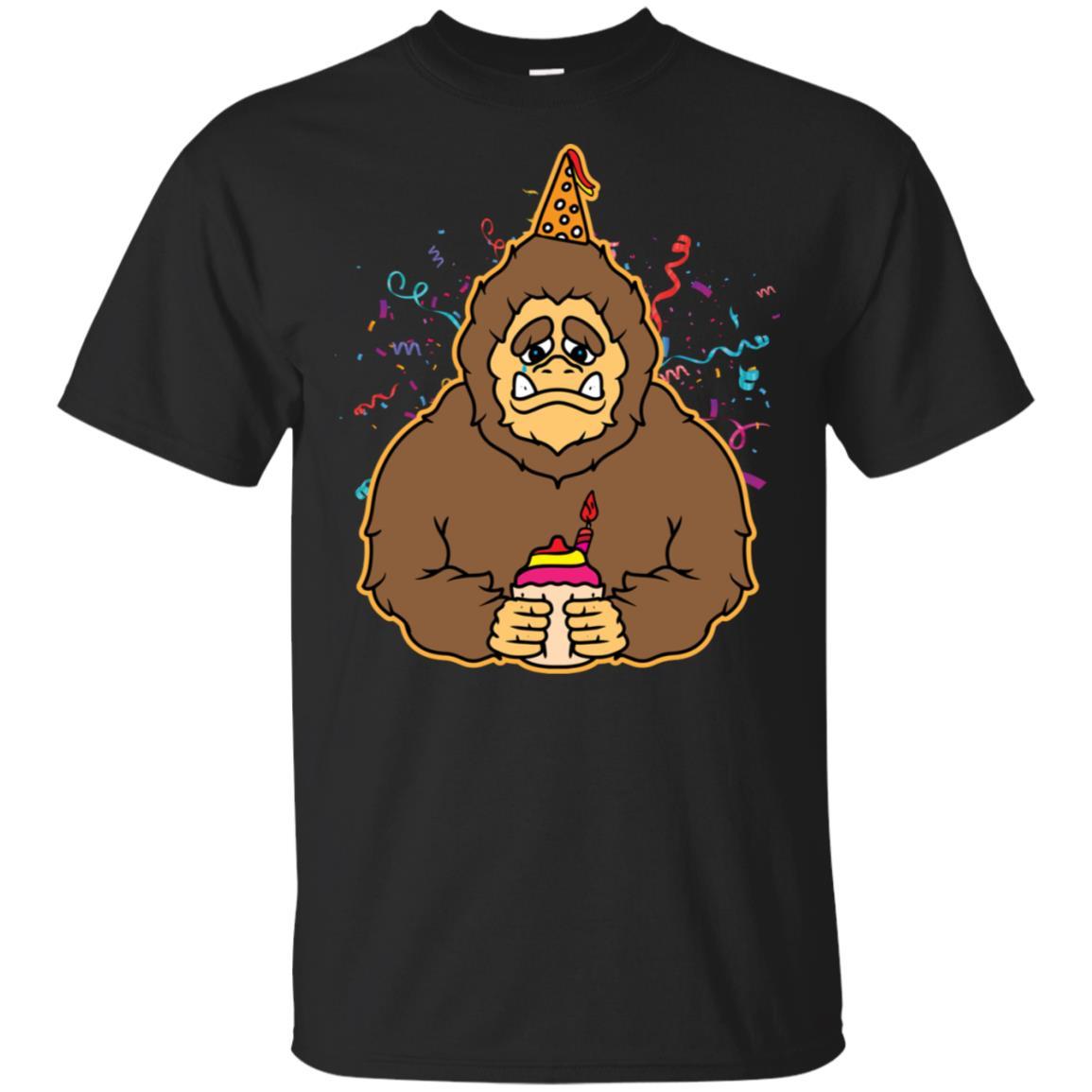 Birthday Bigfoot Yeti in Party Hat Funny Gift Unisex Short Sleeve