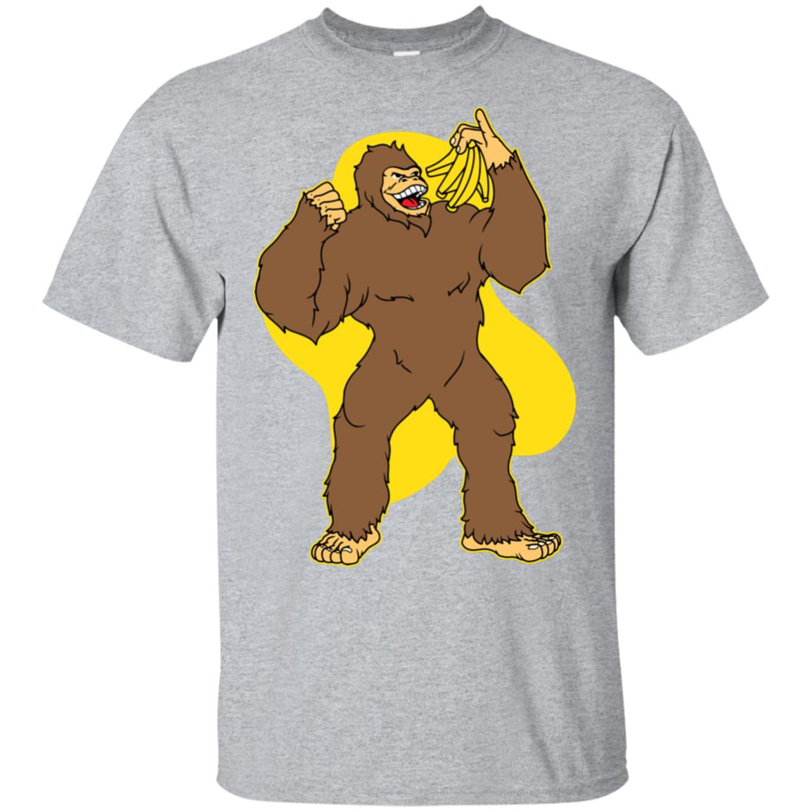 Funny Bigfoot Eating Banana Yeti Fruit Lover Gift Unisex Short Sleeve