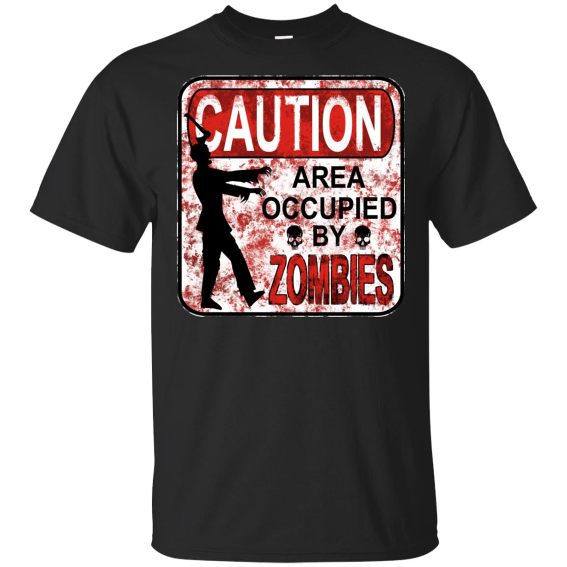 Funny Zombie Apocalypse Caution Zone Sign Unisex Short Sleeve